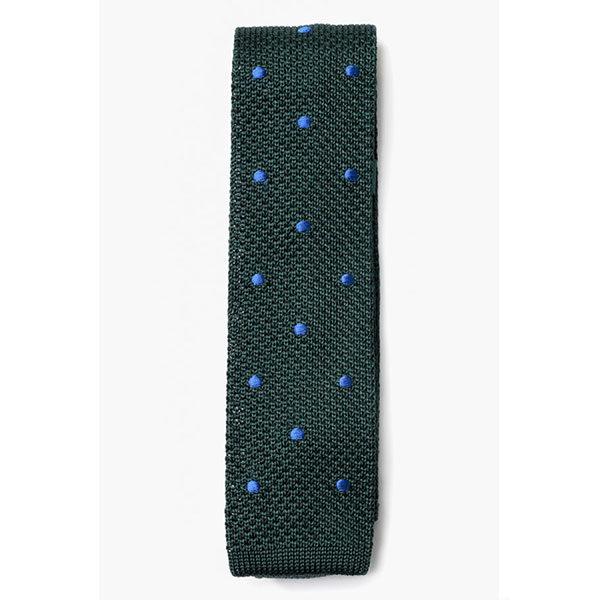 183005f0d648e Cravate vert à pois bleu TRICOT – B GARBO