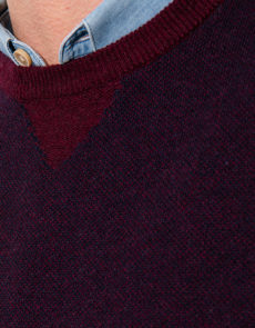 Pull Col Rond Bordeaux 6